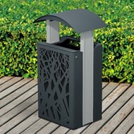 Airi Stix 33-Gallon Trash Receptacle with Side Door, Curve Top