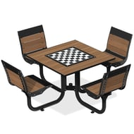 Anova Beacon Hill Thermory Game Table, 4 Swivel Seats