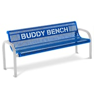 Ultra 6' Slotted Steel Buddy Bench, Portable/Surface Mnt