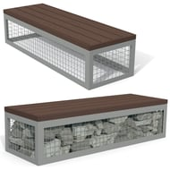 Canyon Recycled Plastic Gabion-Style 6' Bench