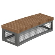 Anova Canyon Edge Thermory Gabion-Style R26' Curved Bench