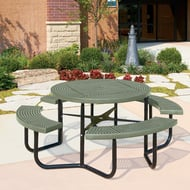 Round Perforated Steel Table, Portable Frame
