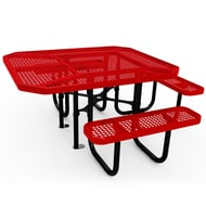 Anova Octagonal Perforated Steel 3-Seat ADA Table, Surface Mount