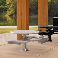 Round Perforated 3-Seat ADA Pedestal Table, Surface Mount