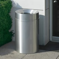 Glaro New Yorker 33 Gallon Receptacle with Satin Aluminum Finish and Funnel Top