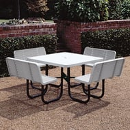 Sq Expanded Steel Table w/Contour Seats, Portable Frame