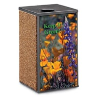 Essence 30 Gal Receptacle, Flat Open Top, Stone/Graphic