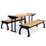 Frog Furnishings 6' Recycled Plastic Heritage Table with Individual Benches