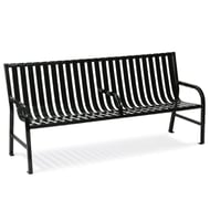 WITT Oakley 6' Slatted Metal Contour Bench with Center Armrest