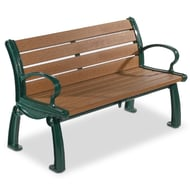 Frog Furnishings Heritage 4' Recycled Plastic Bench with Cast Aluminum Frames