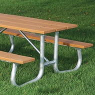 Frog Furnishings 6' Rectangular Recycled Plastic Picnic Table with Galvanized Legs