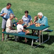 6' Rectangular Folding Green Picnic Table with Sand Frame
