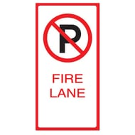 "Anova 21""H x 10 1/2""W Plastic Sign-No Parking Fire Lane w/Symbol"