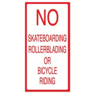 "Anova 21""H x 10 1/2""W Plastic Sign - No Skateboard/Bike Riding"