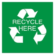 """10 1/2"""" Sq Plastic Sign-Recycle Here with Symbol"""