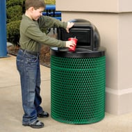 Ultra 32 Gal Expanded Steel Trash Receptacle, Dome Top