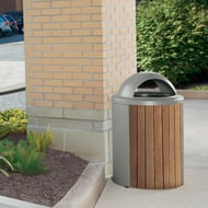 Madison 35 Gal Thermory Trash Receptacle, Open Hood Top