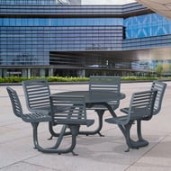 Anova Exposition Table with 6 Contour Swivel Seats