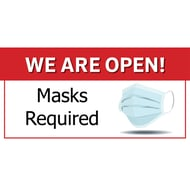 Social Distancing Plastic Sign - We Are Open/Masks Required