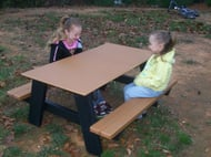 Frog Furnishings 4' Rectangular A Frame Recycled Plastic Picnic Table w/ Solid Top