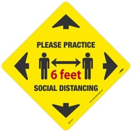 National Marker Company Adhesive-Backed Social Distancing Walk On Floor Sign - Please Practice Social Distancing Yellow Diamond