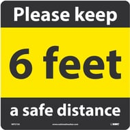 National Marker Company Adhesive-Backed Social Distancing Walk On Floor Sign - Please Keep a Safe Distance