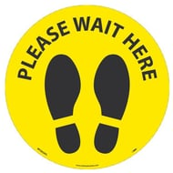 National Marker Company Adhesive-Backed Social Distancing Walk On Floor Sign - Please Wait Here Yellow Circle, 10 Pack