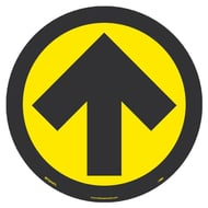 National Marker Company Adhesive-Backed Social Distancing Walk On Floor Sign - Yellow/Black Directional Arrow, 10 Pack