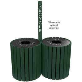 Polly Products Round Double 49 Gallon Trash Receptacles with Center Post
