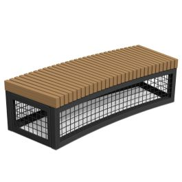 Anova Canyon Edge Recycled Plastic Gabion-Style R18' Curved Bench