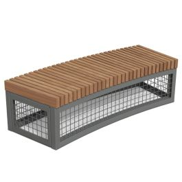 Anova Canyon Edge Thermory Gabion-Style R18' Curved Bench