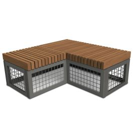 Anova Canyon Edge Thermory Gabion-Style 4' Corner Bench