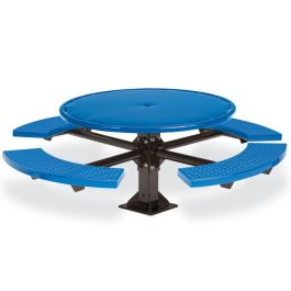 Anova Round Perforated 4-Seat Pedestal Table, Surface Mount