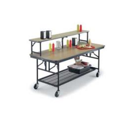 Mobile Utility Table with Riser Shelf