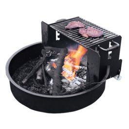 Jamestown Advanced Products Adjustable Round Fire Ring with Cooking Grate