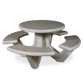 "Petersen 66"" Round Concrete Picnic Table with Polished Stone Finish"