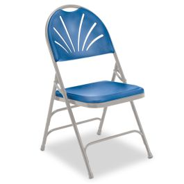Blue Fanback Folding Chair with Gray Frame, Set of 4