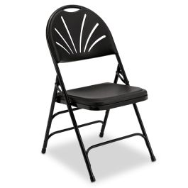 Black Fanback Folding Chair with Black Frame, Set of 4