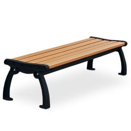 Frog Furnishings Heritage 6' Recycled Plastic Flat Bench with Cast Aluminum Frames