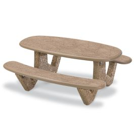 Petersen 6' Oval Concrete Picnic Table with Polished Stone Finish