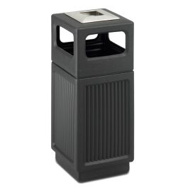 Safco CanMeleon 15 Gallon Receptacle with Recessed Panels and Side Opening Top with Ashtray