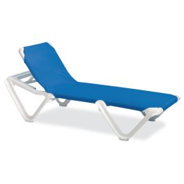 Grosfillex Nautical Adjustable Sling Chaise Lounge, Case of 2
