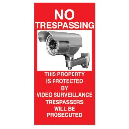 "Anova 21""H x 10 1/2""W Plastic Sign - No Trespassing Surveillance"