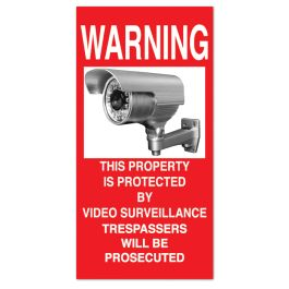 "Anova 21""H x 10 1/2""W Plastic Sign - Warning Surveillance"