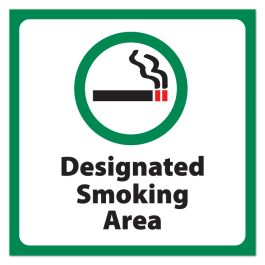 "Anova 10 1/2"" Sq Plastic Sign-Designated Smoking Area w/Symbol"