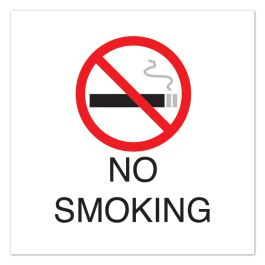 "Anova 10 1/2"" Sq Plastic Sign - No Smoking with Symbol"