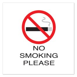 "Anova 10 1/2"" Sq Plastic Sign-No Smoking Please with Symbol"