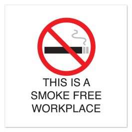 "Anova 10 1/2"" Sq Plastic Sign-Smoke Free Workplace with Symbol"