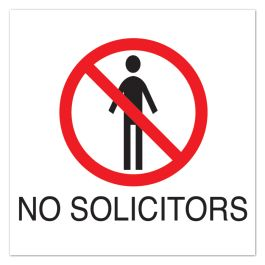 "Anova 10 1/2"" Sq Plastic Sign-No Solicitors with Symbol"