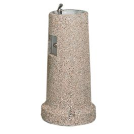 Petersen Round Concrete Drinking Fountain with Concrete Bowl and Side Button